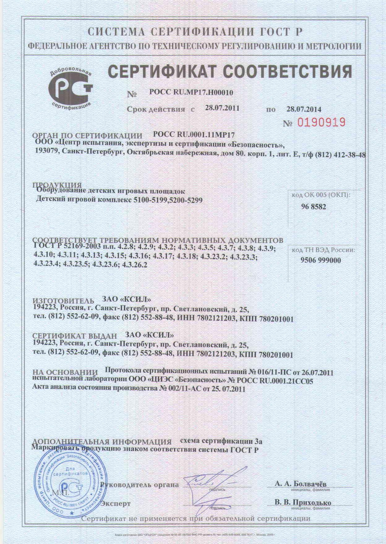 Сертификат 0190919 ДИК 5100-5299